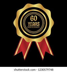 Gold button with 60 years anniversary . emblem, label, badge,sticker, logo. Designed for celebration or anniversary