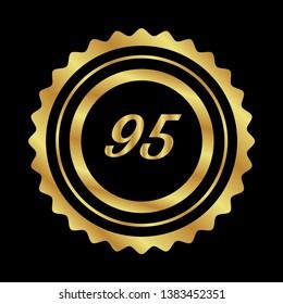 Gold button with 95 number.95 number emblem, label, badge,sticker, logo
