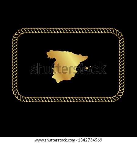 Map Of Spain To Label.Gold Button Spain Map Gold Spain Stock Vector Royalty Free