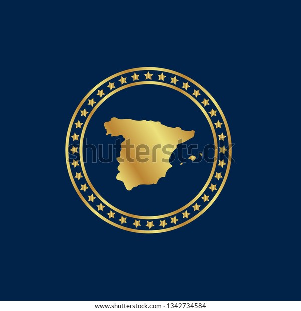 Map Of Spain To Label.Gold Button Spain Map Gold Spain Stock Vector Royalty Free 1342734584