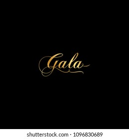 gold, calligraphic word: gala