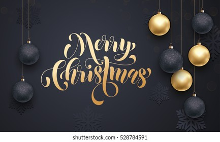 Gold calligraphy lettering Merry Christmas. Golden decoration ornament with Christmas ball on vip black background with snowflake pattern. Premium luxury Christmas background for holiday greeting card