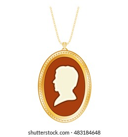 Gold Cameo Locket, Vintage Gentleman, antique silhouette, chain necklace, engraved oval keepsake, isolated on white background. EPS8 compatible.