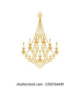 Gold candelabrum on white background. Royal room.