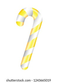 Gold candy cane on whtie background