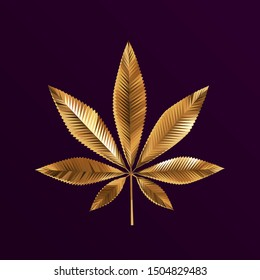 Gold Cannabis Leaf on Purple Background. Shiny Metallic Golden Low Poly Vector 3D Rendering