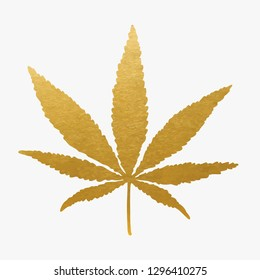 Gold Cannabis Leaf. Vector