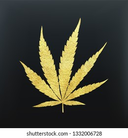 Gold cannabis leaf vector - metallic golden paint foil silhuette of marijuana indica leaf on black background, yellow shiny weed symbol