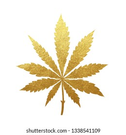 Gold cannabis leaf vector - metallic golden paint foil silhuette of marijuana sativa leaf on white background, yellow shiny weed sign
