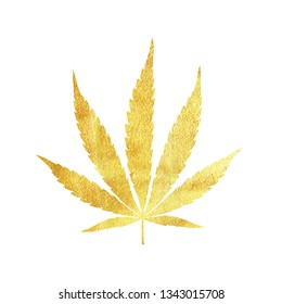 Gold cannabis leaf vector - metallic golden paint foil silhuette of marijuana indica leaf on white background, yellow shiny weed sign