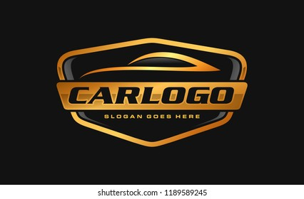 Gold car, auto, automotive logo template