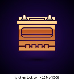 Gold Car battery icon isolated on dark blue background. Accumulator battery energy power and electricity accumulator battery.  Vector Illustration