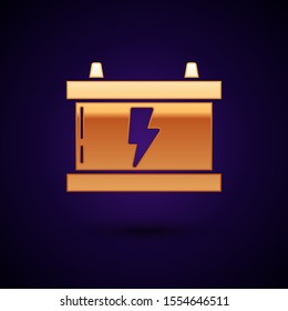 Gold Car battery icon isolated on dark blue background. Accumulator battery energy power and electricity accumulator battery. Lightning bolt.  Vector Illustration