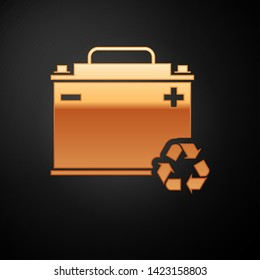 Gold Car battery with recycle icon isolated on black background. Accumulator battery energy power and electricity accumulator battery. Vector Illustration