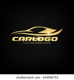 Gold Car Logo Template with Black Backround. Abstract Car silhouette for Automotive Company logo. Vector Eps.10