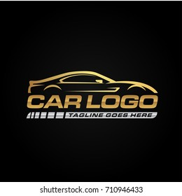 Gold Car Logo Template with Black Backround