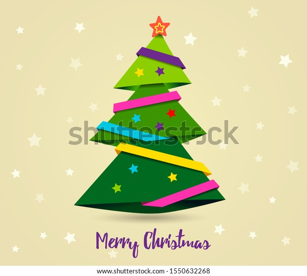 Gold card Merry Christmas. Paper ribbon on Christmas tree with yellow star. Paper art style. Vector illustration.