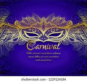 Gold carnival mask on the dark blue background. Fashion illustration.