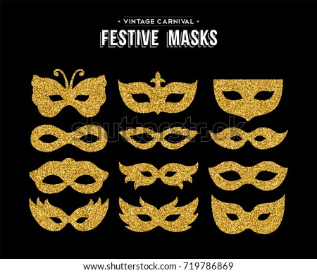 Gold Carnival Masks Template Set Made Of Golden Glitter Dust Luxury Party Costume Isolated Over