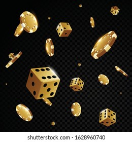 Gold casino poker chips and dices solated in front of black background