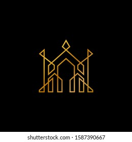 Gold Castle and Crown Logo. Luxury Real Estate Line Art Logo. Building Construction Logo, minimalist outline style, property agent business icon, city architecture landscape symbols
