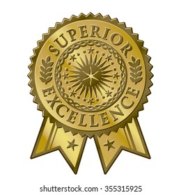 Gold certificate award seal, superior excellent achievement