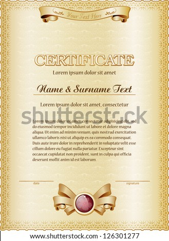 Gold Certificate Template Vector Illustration Grouped Stock Vector
