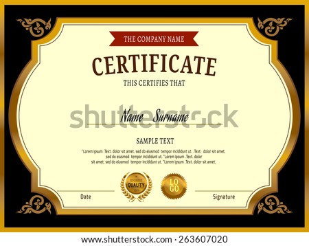 Gold Certificate Template Vector Illustration Stock Vector Royalty