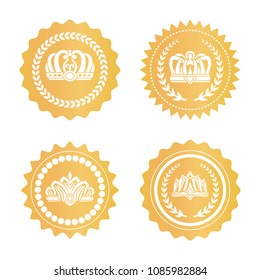 Gold certificates with royal crowns silhouettes set. Luxurious kings hats on golden seals. Heraldic symbols on round certificates vector illustrations