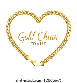 Gold chain heart love border frame. Wreath shape with a lobster claw clasp lock. Jewelry design, text frame. Realistic vector illustration isolated on a white background.