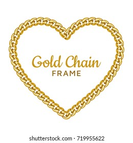 Gold chain heart love border frame. Wreath shape.Jewelry design, text frame. Realistic vector illustration isolated on a white background.