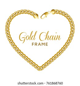 Gold chain heart love border frame. Wreath shape with a lobster claw clasp lock. Jewelry design, text frame. Vector illustration isolated on a white background.