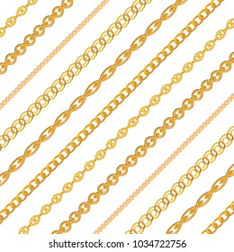 Gold Chain Jewelry on White Background. Vector Illustration. EPS10