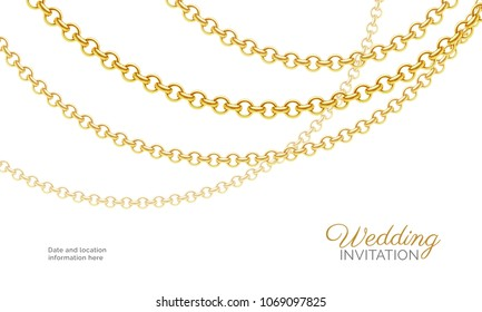 Gold chain necklace. Luxury jewelry background. Wedding invitation vector design. Necklace gold chain, golden fashion accessory illustration
