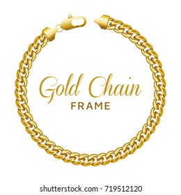 Gold chain round border frame. Wreath circle shape with a lobster claw clasp lock. Jewelry accessory design, text frame. Realistic vector illustration isolated on a white background.