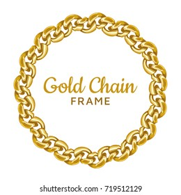 Gold chain round border frame. Wreath circle wavy shape. Jewelry design, text frame. Realistic vector illustration isolated on a white background.