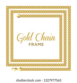 Gold chain square border frame. Rectangle wreath shape with a lobster claw clasp lock. Jewelry design, text frame. Realistic vector illustration isolated on a white background.