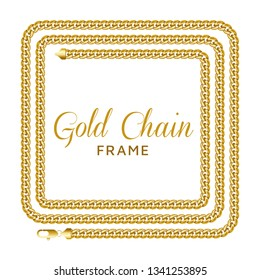 Gold chain square border frame. Rectangle wreath shape for a text template. Jewelry design, text frame. Realistic vector illustration isolated on a white background.