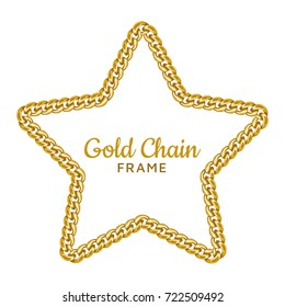 Gold chain star border frame. Wreath starry shape.Jewelry accessory design, text frame. Realistic vector illustration isolated on a white background.