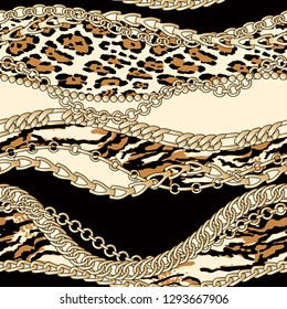 Gold chains with animal fur patches abstract vector seamless pattern patchwork wallpaper