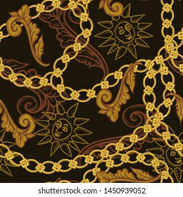 Gold chains, baroque elements and engraved vintage images of the sun. Vector seamless  pattern. Luxury illustration.