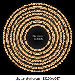 Gold chains and beads round frame template. Jewelry trendy print. Decorative design elements. Vector