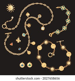 Gold chains, bracelets, brooches collections