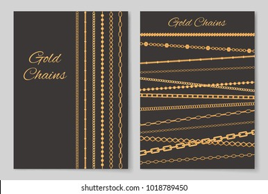 Gold chains collection of covers, posters made up of jewel items and headlines in decorative fonts, vector illustration isolated on grey background. Chain from gold