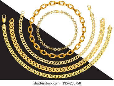 Gold chains of different sizes in the form of circles and curves with clasps on a white and black background