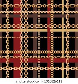 Gold chains tartan seamless pattern. Vector illustration.