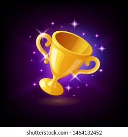 Gold champion trophy cup, goblet with sparkles, slot icon on dark purple background, casino concept, vector illustration