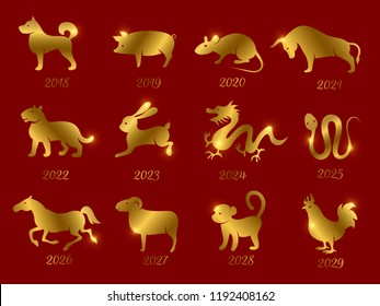Gold chinese horoscope zodiac animals. Vector symbols of year isolated on red backdrop. Illustration of calendar astrological monkey and rooster
