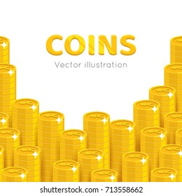 Gold Chinese yuan or Japanese yen piles cartoon template. Stacks of gold Chinese yuan or Japanese yen template for designers and illustrators. Pattern of gold pieces vector illustration