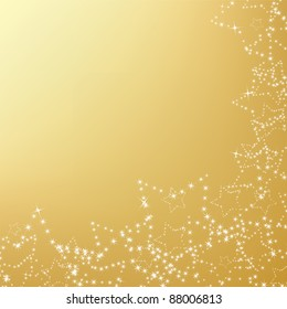 gold christmas background with star decorations